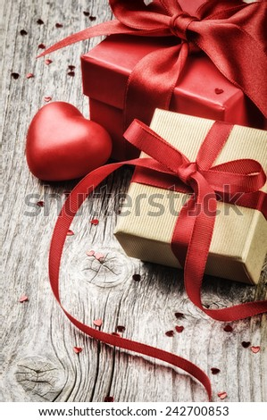 Valentine's setting with presents and festive decoration