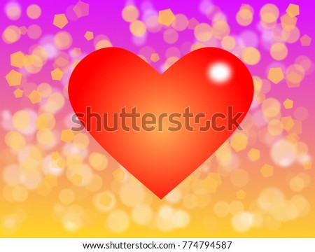 Valentines Theme With Big Red Heart And Blur Bokeh On Gradient Violet Yellow Color Background