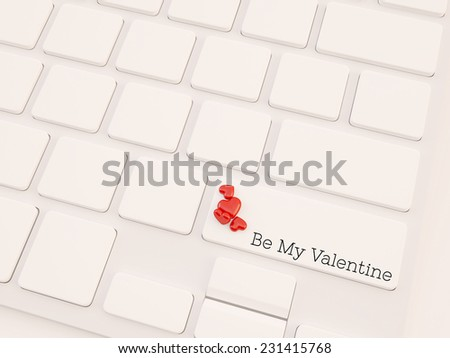 valentine's word button on keyboard with small heart shape object - stock photo