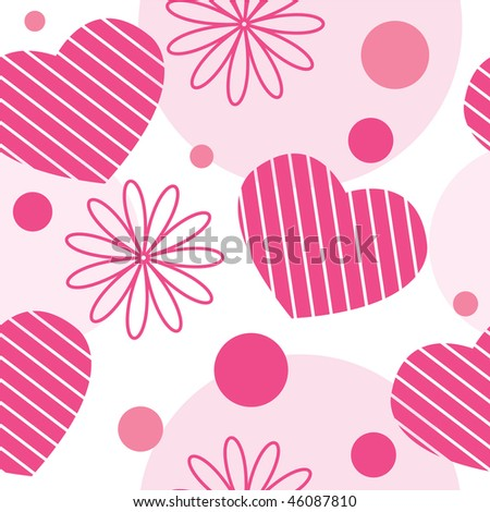 Valentine seamless pattern with hearts, flowers and circles - stock photo