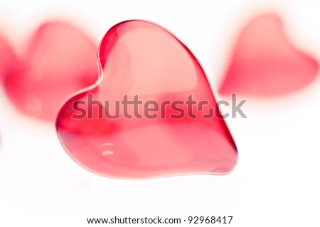 Valentine small hearts on white background