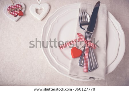 Valentine table setting copy space background, selective focus, toning