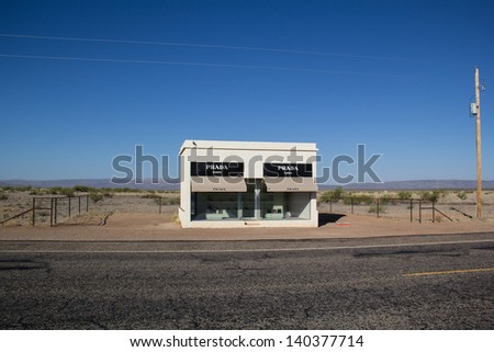 VALENTINE,TX,USA MAY 30: A Prada Storefront Sits Along Deserted Highway