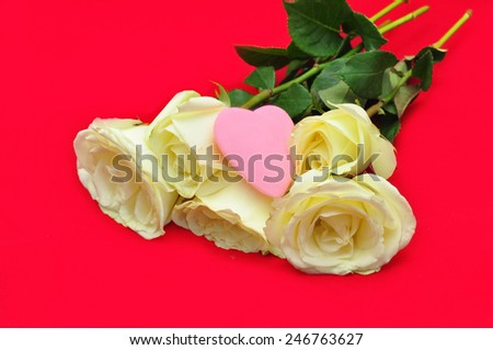 Valentine White rose with heart on red background