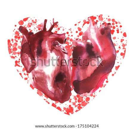 Valentine with two human hearts watercolor illustration - stock photoHuman With Two Hearts