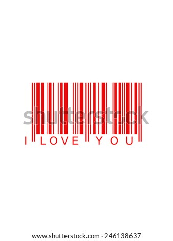 Valentines background code bar in red with declaration i love you