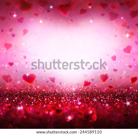 valentines background with hearts flying - stock photo