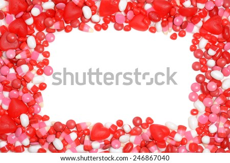 valentines candy frame - stock photo