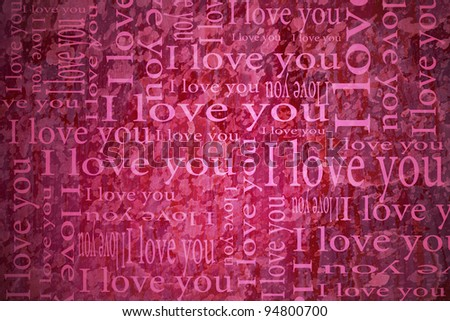 valentines card with I Love You text - stock photo
