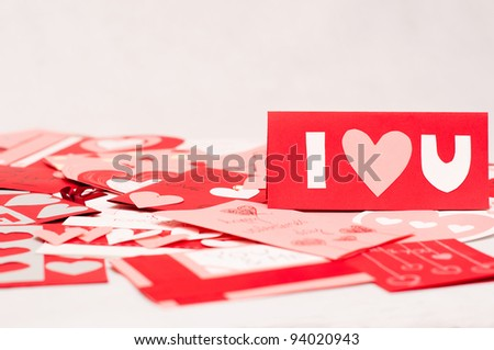 valentines cards on white background