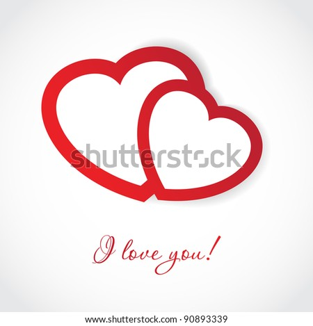 Valentines cards with two hearts and place for your text. Jpeg version - stock photo