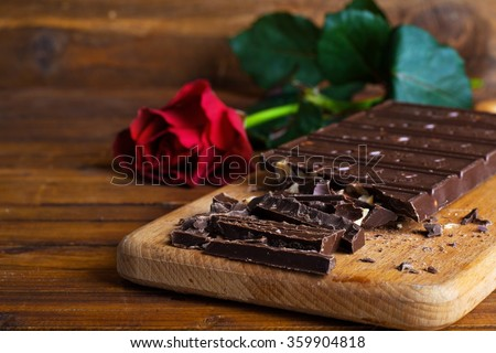 valentines chocolate with nuts Rose - stock photo