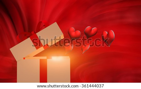 Valentines concept with hearts and wrapped gift on table