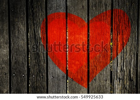 Valentines Day background Hearts on Grunge wood
