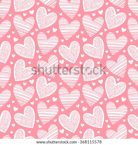 Valentines day background. Seamless pattern made of ornamental hearts of various size. Hearts pattern with lacy ornamentation and hatching. Raster version.