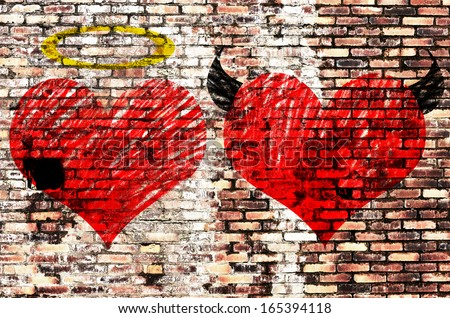Valentines day background wih two hearts - devil and angel - stock photo