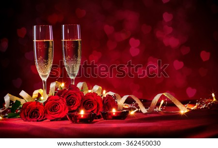 Valentines day background with champagne and roses - stock photo