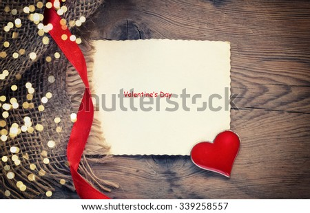 Valentines day background with heart and blank paper
