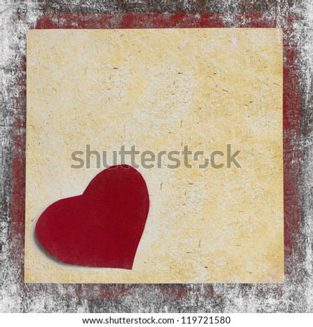 Valentines Day background with heart from red flowers/ Holidays card with framed paper for the sign/Vintage valentin heart on old wooden background with white texture - stock photo