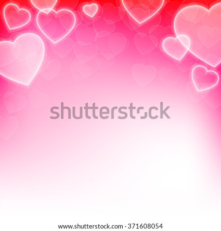 Valentines day background with hearts and copy space - stock photo