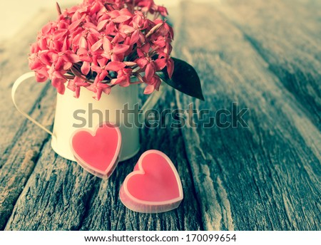 Valentines Day background with hearts and flower - stock photo