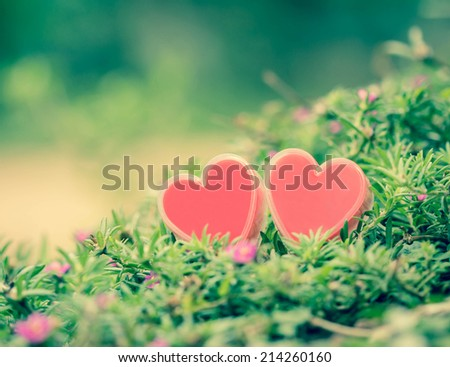 Valentines Day background with hearts and flower. - stock photo