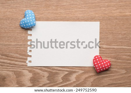 Valentines Day background with hearts. Valentines Vintage Handmade Hearts over Wooden Background. Valentine over Wood. Retro Styled Wallpaper. Valentines Day - stock photo