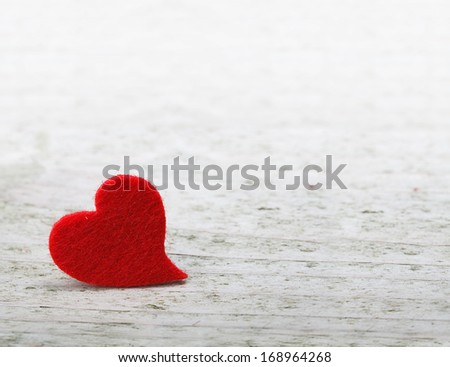valentines day background with one heart on wooden background - stock photo
