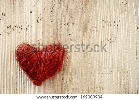 Valentines Day background with red heart - stock photo