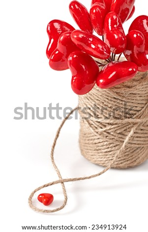 Valentines day. Bouquet of red shiny Hearts in vase. Love concept - stock photo