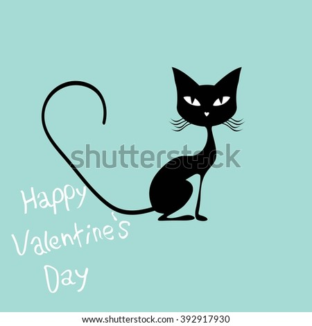 Valentines day card cat and bird illustration