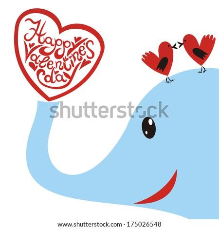 Valentines day card hearts elephant illustration - stock photo