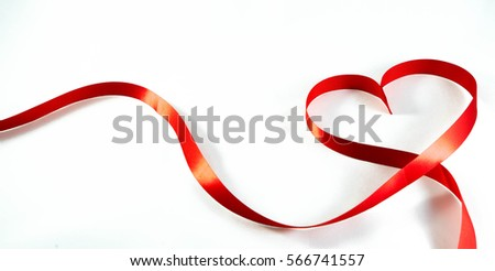 Valentines day card - red ribbon shapes as heart on white background