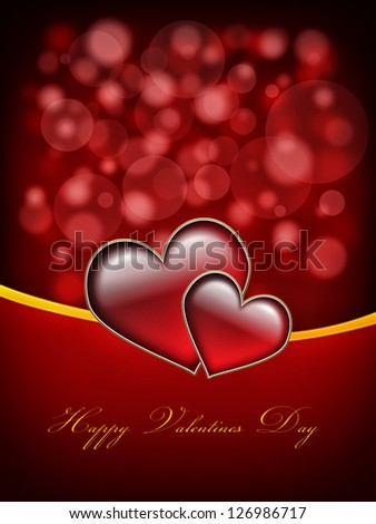 Valentines Day Card with Happy Valentines Day text and two big hearts - all in red and gold