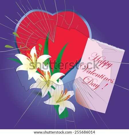 Valentines Day card with heart, flowers and broken window - raster - stock photo