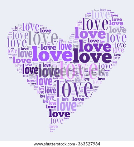 Valentines day card word cloud concept on white background