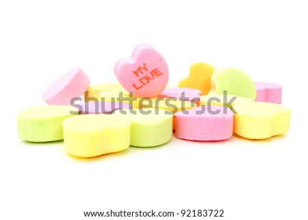 "Valentines Day conversation hearts over white. One with ""My Love"" text. - stock photo"
