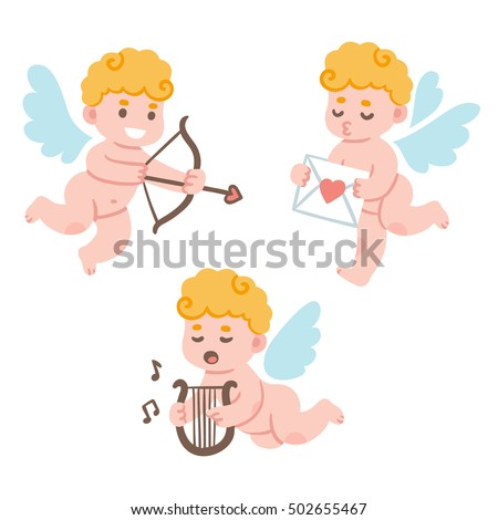 Valentines Day cute cartoon cupid set. Adorable little cherub with bow and arrow and love mail. Funny illustration.