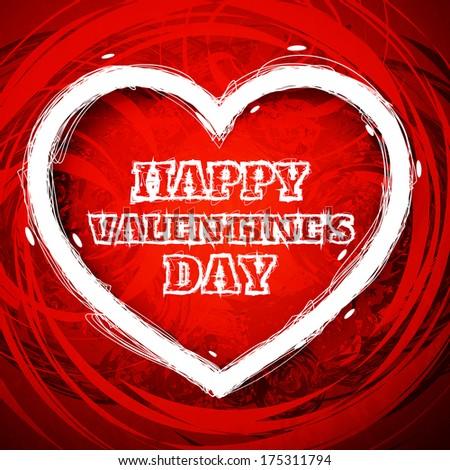 Valentines day draw heart. Raster version - stock photo