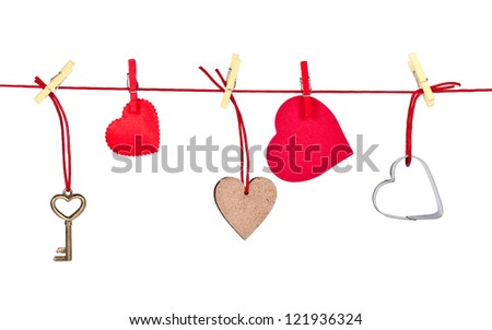 Valentines Day gift box with key  and small hearts isolated on white - stock photo