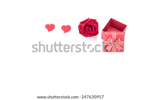 Valentines day gift boxes, rose and paper hearts isolated on white background
