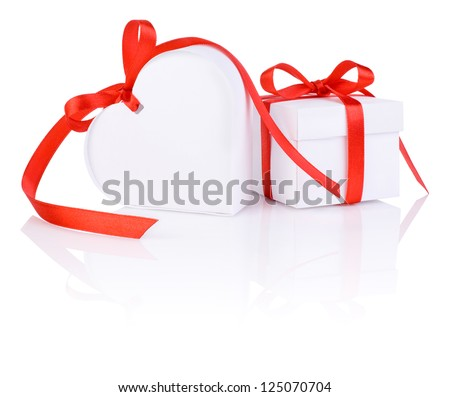 Valentines Day gift in white box and heart red ribbon isolated o - stock photo