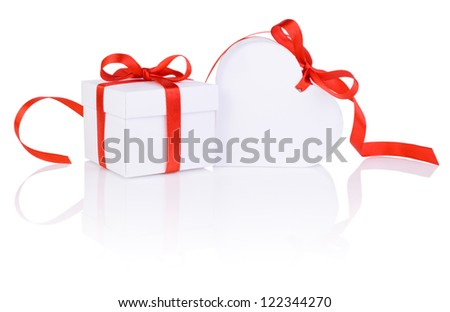 Valentines Day gift in white box and heart red ribbon isolated on white - stock photo