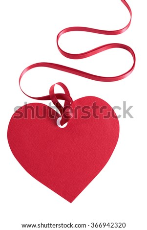 Valentines day gift tag, heart shape, red ribbon, vertical - stock photo