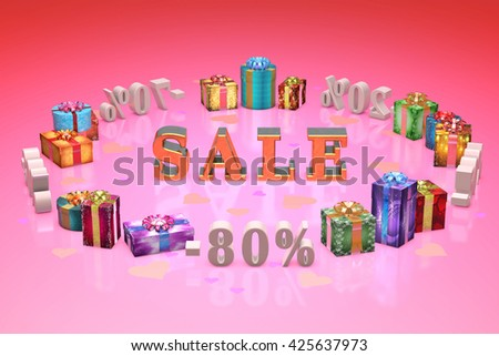 Valentines Day gifts and gray numbers (discounts-percentages). Pink artistic background. 3D illustration rendering.