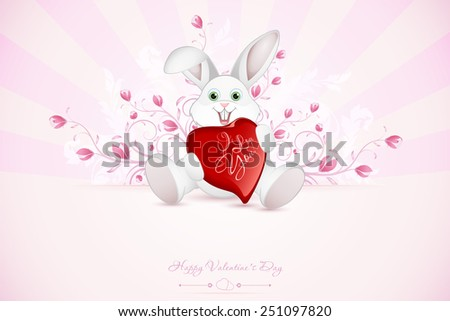 Valentines Day Greeting Card with Ornaments and Floral and Rays and Rabbit with Heart - stock photo