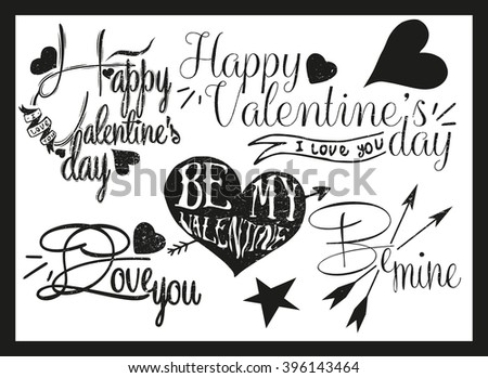 Valentines day hand lettering in vintage style. Design elements, ornaments, hearts, ribbon and arrows. - stock photo