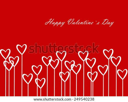 Valentines Day Heart Flowers on Red Background - stock photo