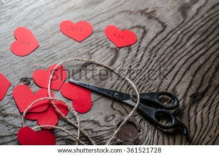 Valentines day,heart,love,gift box,scissors,Rope skein, hemp roll,horizontal photo - stock photo