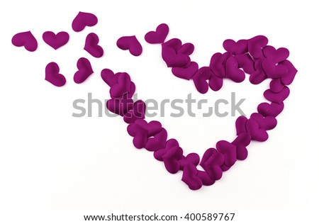 Valentines Day Heart Made of Purple little cloth material hearts Isolated on White Background. Big Love Heart / seamless close up gift card / wedding
